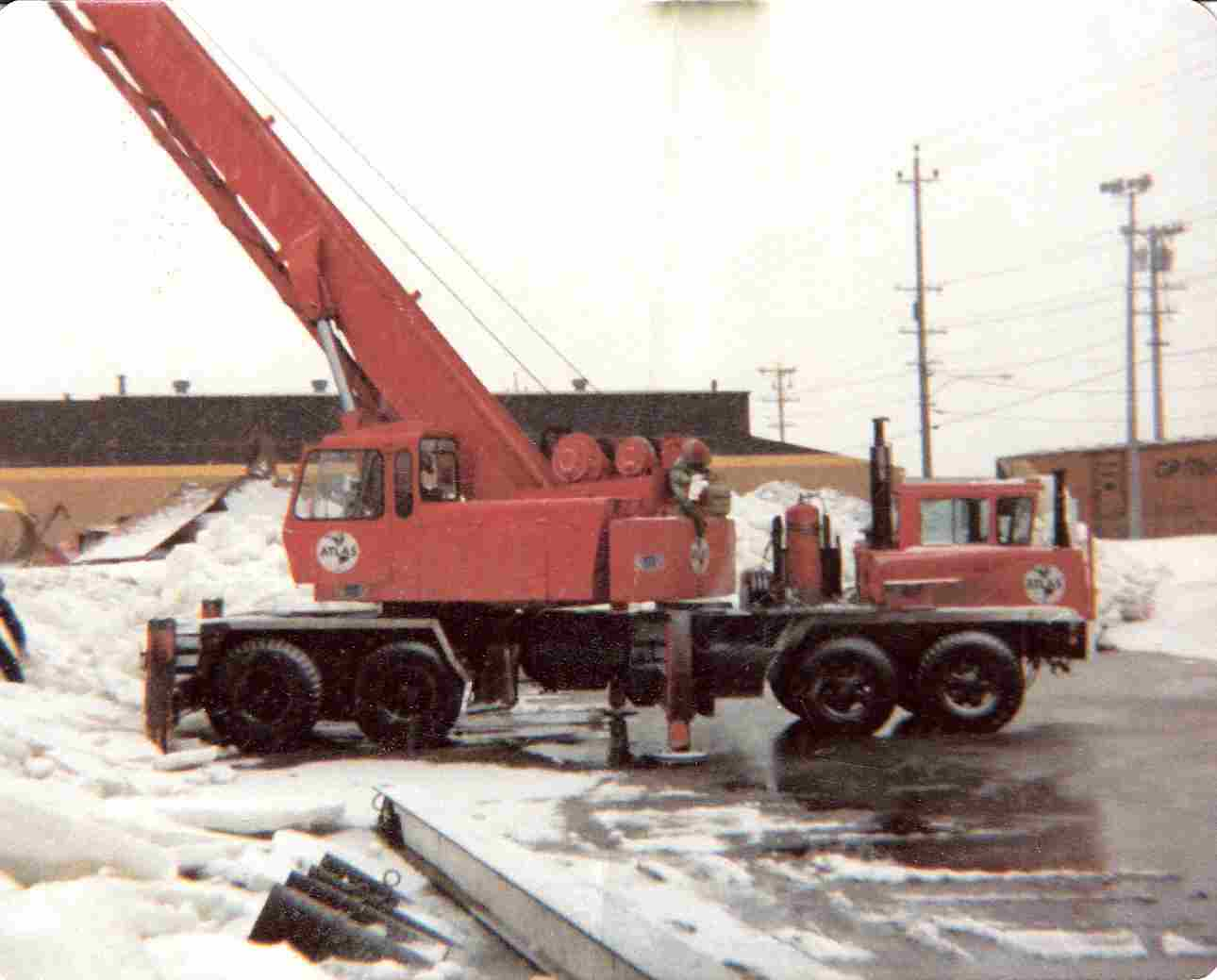 One of Father Clyde's cranes at Atlas Crane Service 1970's